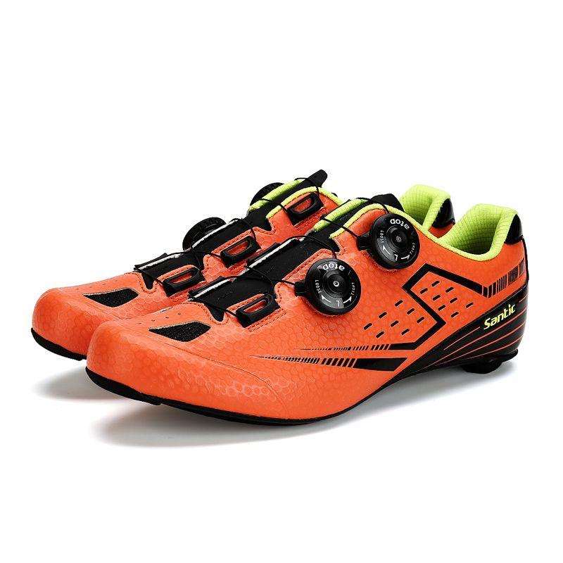 Santic Men's Orange Road Cycling Shoes Carbon Light Sole Annular Sapatilha Ciclismo Zapatillas Eur Size 39-45 450g  S12021