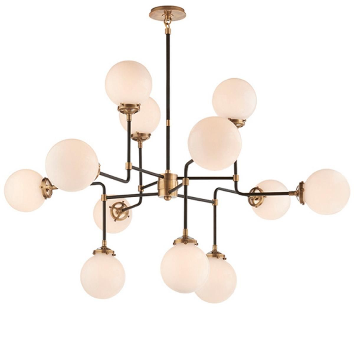 Pendant lamp Mid Century BISTRO GLOBE CLEAR GLASS CHANDELIER