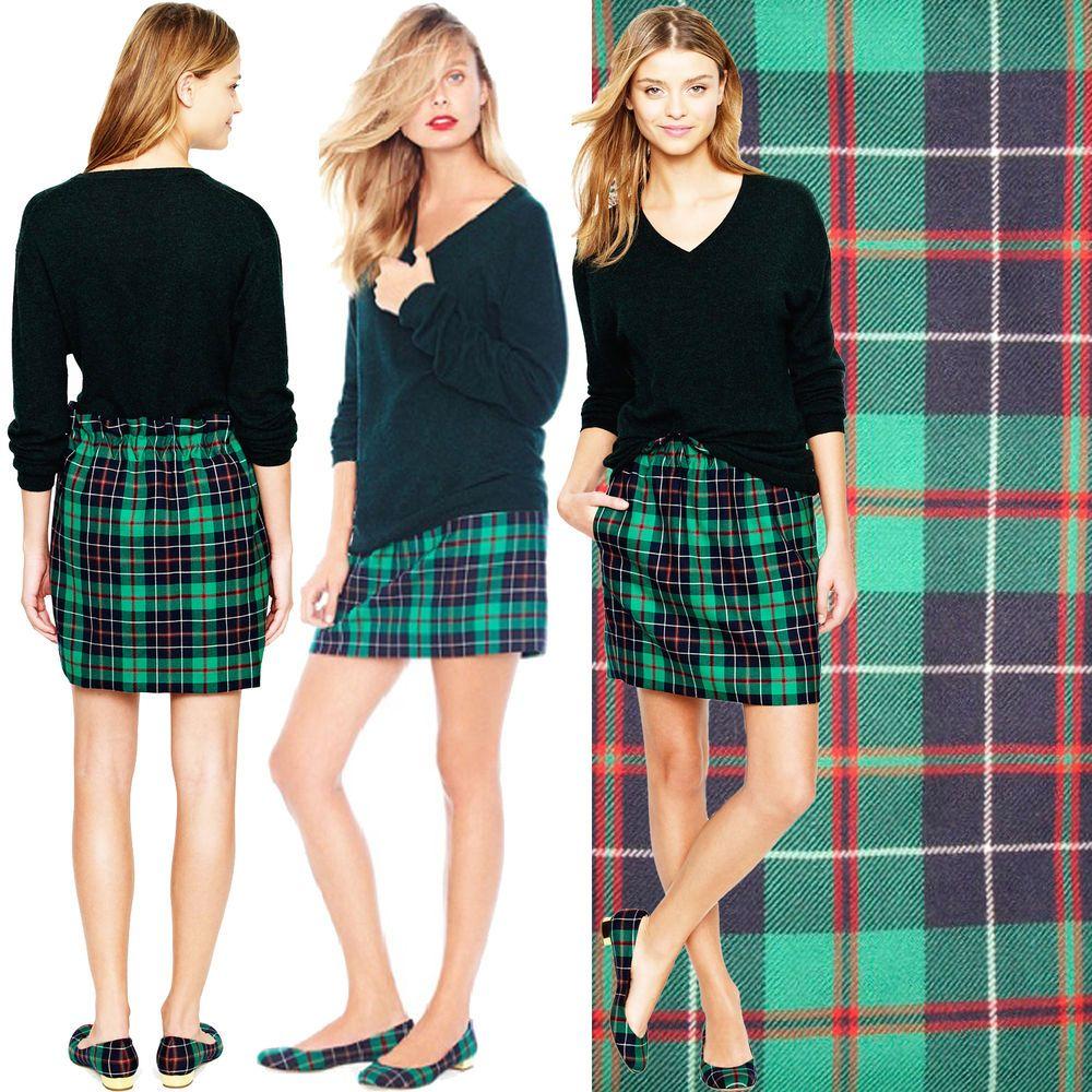 919f50cce NEW J CREW Dublin Tartan Plaid City Mini Skirt Green Wool High Waist  Pleated 10 #JCrew #Mini