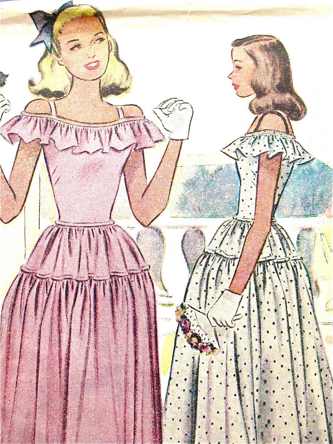 1940 Vintage Sewing Pattern Mccall 6547 Juniors Formal Prom Dress Evening Dress Bust 29 Formal Dresses Prom Evening Dresses Prom Vintage Sewing Patterns [ 1500 x 1125 Pixel ]