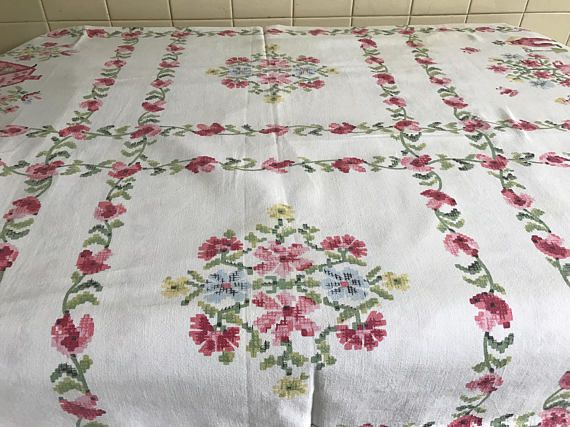 Vintage Tablecloth Printed Cross Stitch Design ...