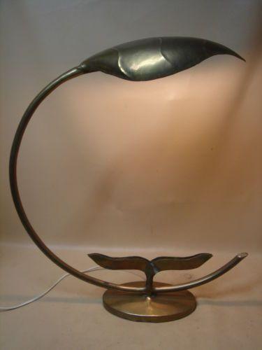 Ancienne lampe de bureau design en laiton lampe palmier jansen maison charles ebay maisons - Lampe de bureau ancienne en laiton ...