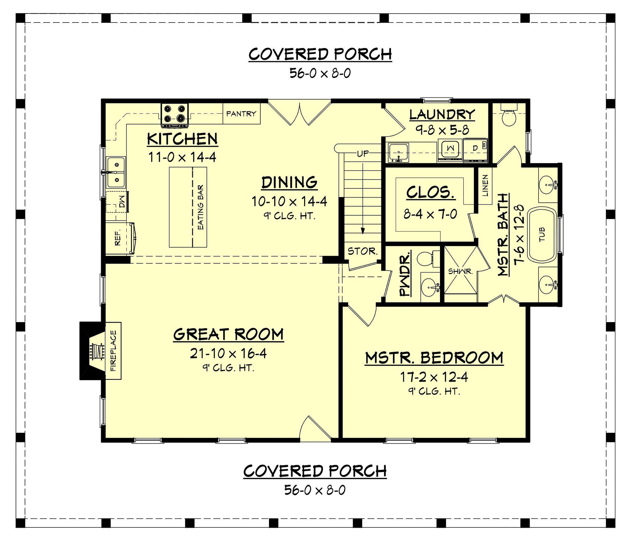 perkins lane house plan | open concept