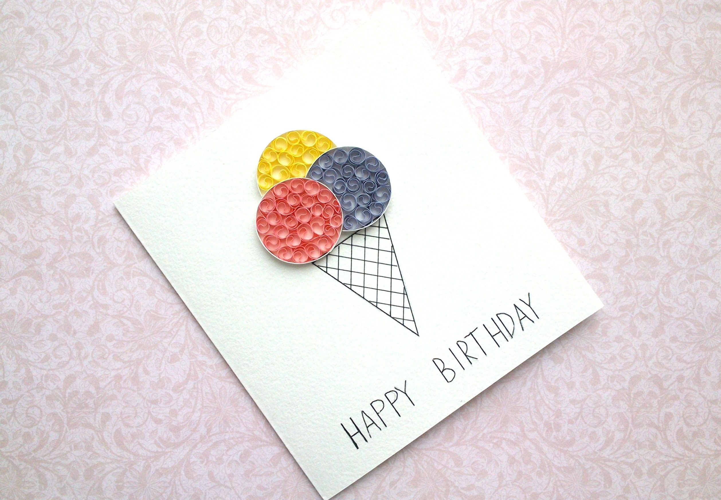 Diy Birthday Card Ice Cream Card Ice Cream Cone Quilling Card