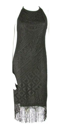Modern Flapper Dress | ... Black Lace Fringe Modern Flapper Dress M L Open Back High Neck | eBay