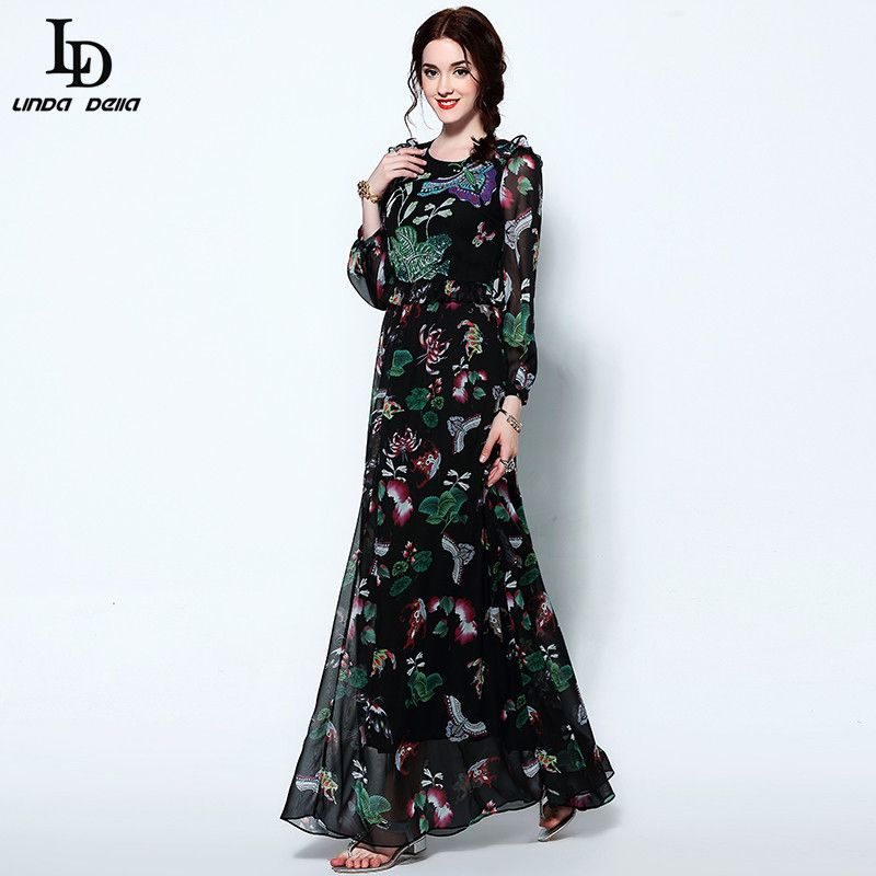 Vintage Maxi Dress Womens Long Sleeve Runway Brand Retro Printed Long Dress
