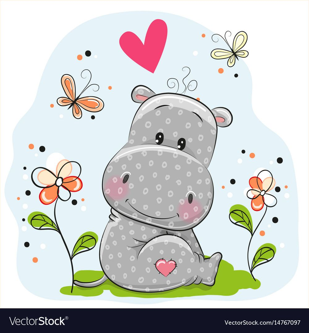Vector Illustration Of Butterfly Cartoon Download A Free Preview Or High Quality Adobe Illustrator Ai Eps P Cute Hippo Hippo Drawing Baby Animal Nursery Art