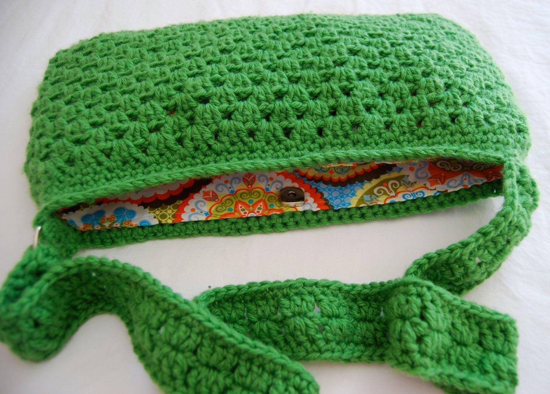 Crochet Pattern Granny Stripe Messenger Bag