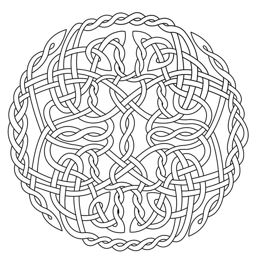 Mandala Art Free Coloring Pages Celtic Circle X coloring by