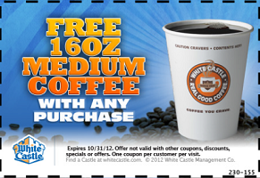 White Castle: FREE Medium Coffee with Purchase Coupon on http://hunt4freebies.com/coupons