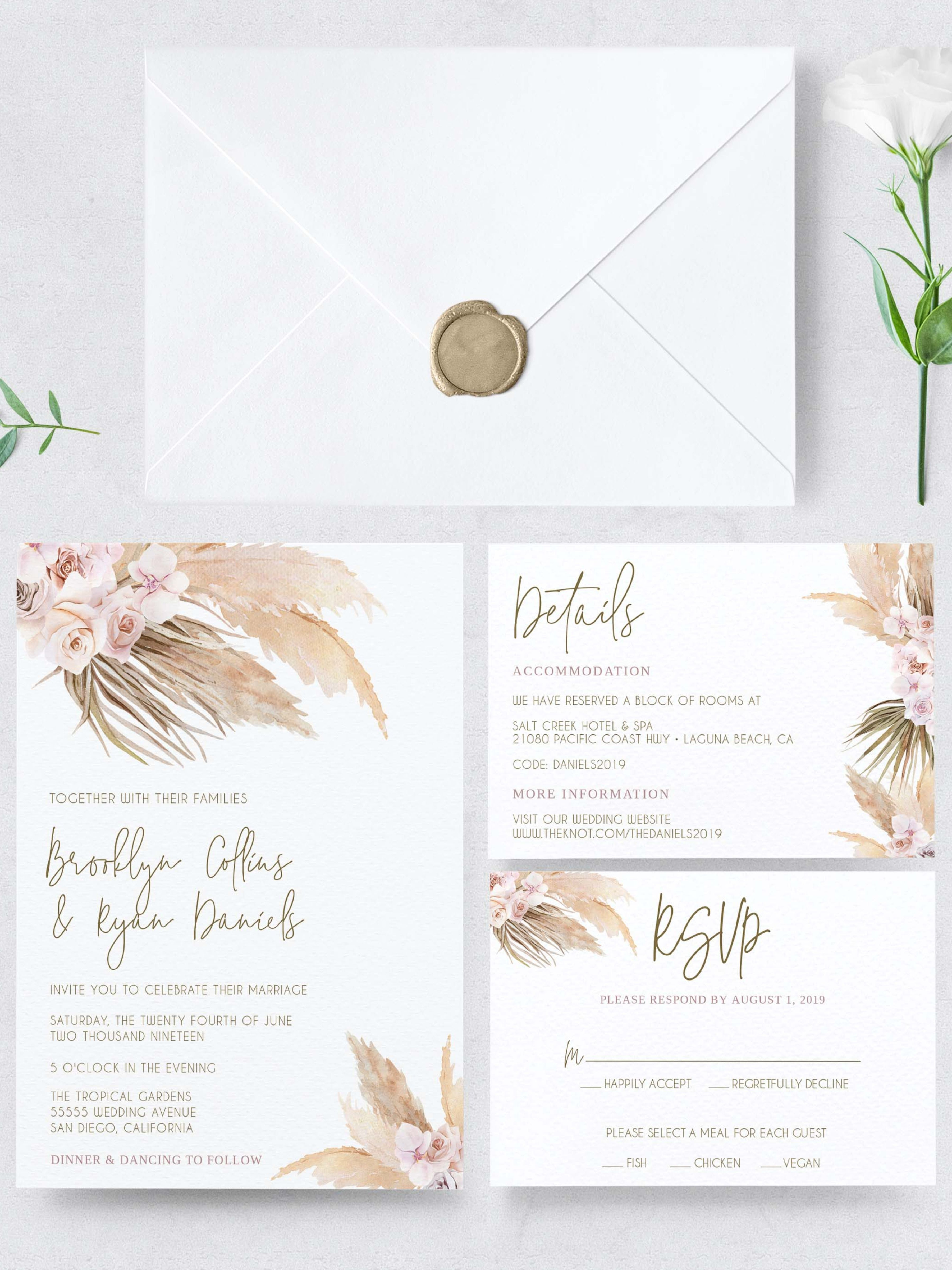 Pampas Grass Wedding Invitation Set Instant Download Template Invite Set Boho Bohemian Editable Template Templett In 2021 Wedding Invitation Sets Wedding Invitation Design Wedding Invitations Boho