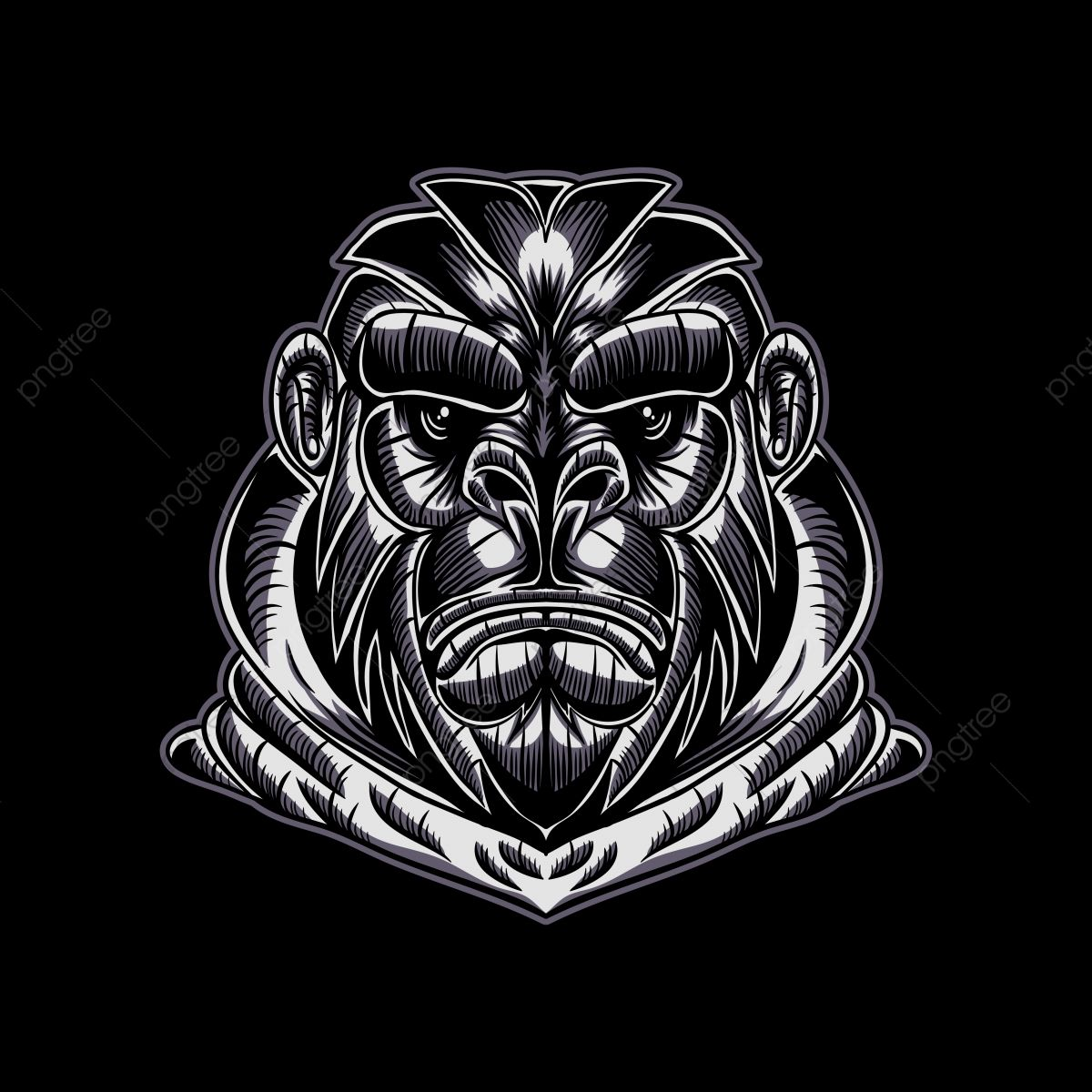 Gorilla Face Vector Illustration For Your Company Or Brand