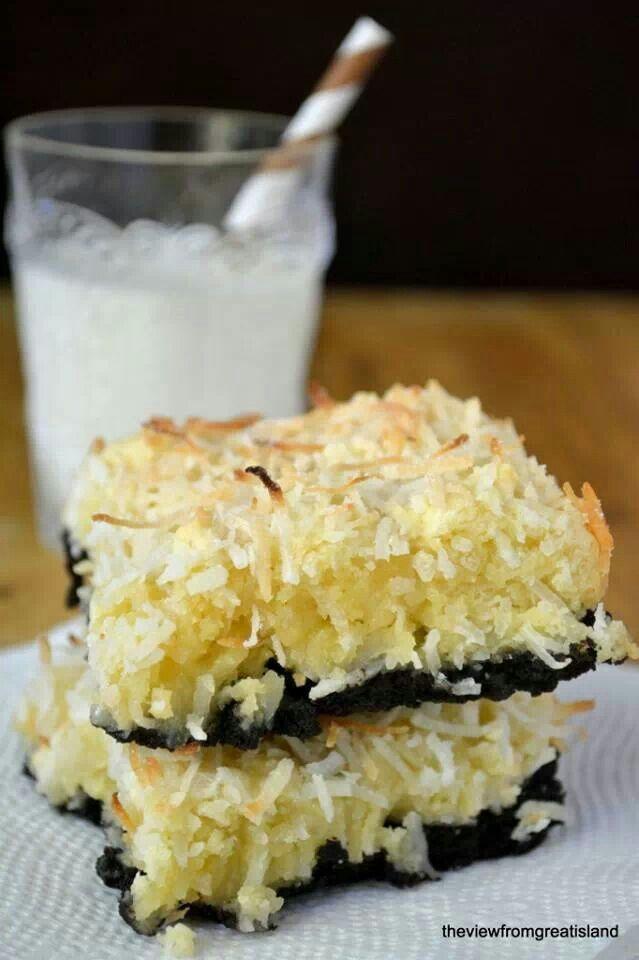 Black bottom coconut squares