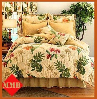 Queen Tropical Palm Tree Leaves Hibiscus Comforter Set Shams Bedd Comforter Bedding Sets Tropical Bedding Sets Bed Linens Luxury