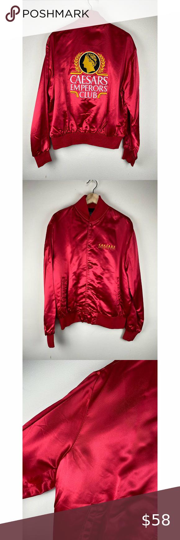Vintage 1980s Caesar S Red Satin Bomber Jacket Satin Bomber Jacket Vintage Jacket Bomber Jacket [ 1740 x 580 Pixel ]