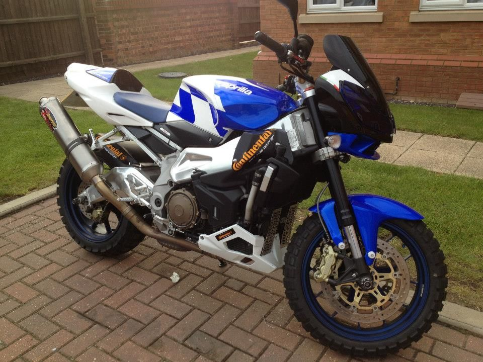 Aprilia Tuono 1000R fitted with TKC80s to turn it into an on