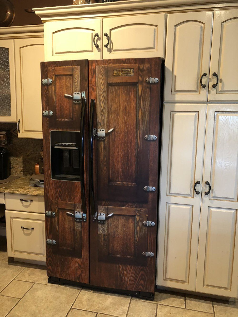Icebox Side By Side Refrigerator Wrap Vintage Icebox Fridge Cover In 2020 Rustic Kitchen Cabinets Farmhouse Style Kitchen Rustic Cabinets