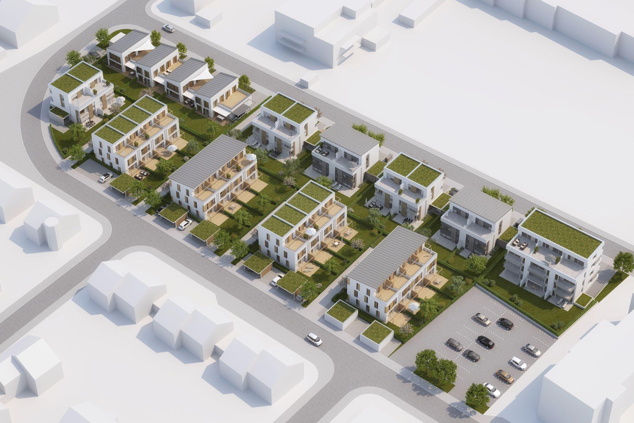 Architekturvisualisierung Stuttgart beispielbebauung bebauungsplan birkenstraße vogelperspektive