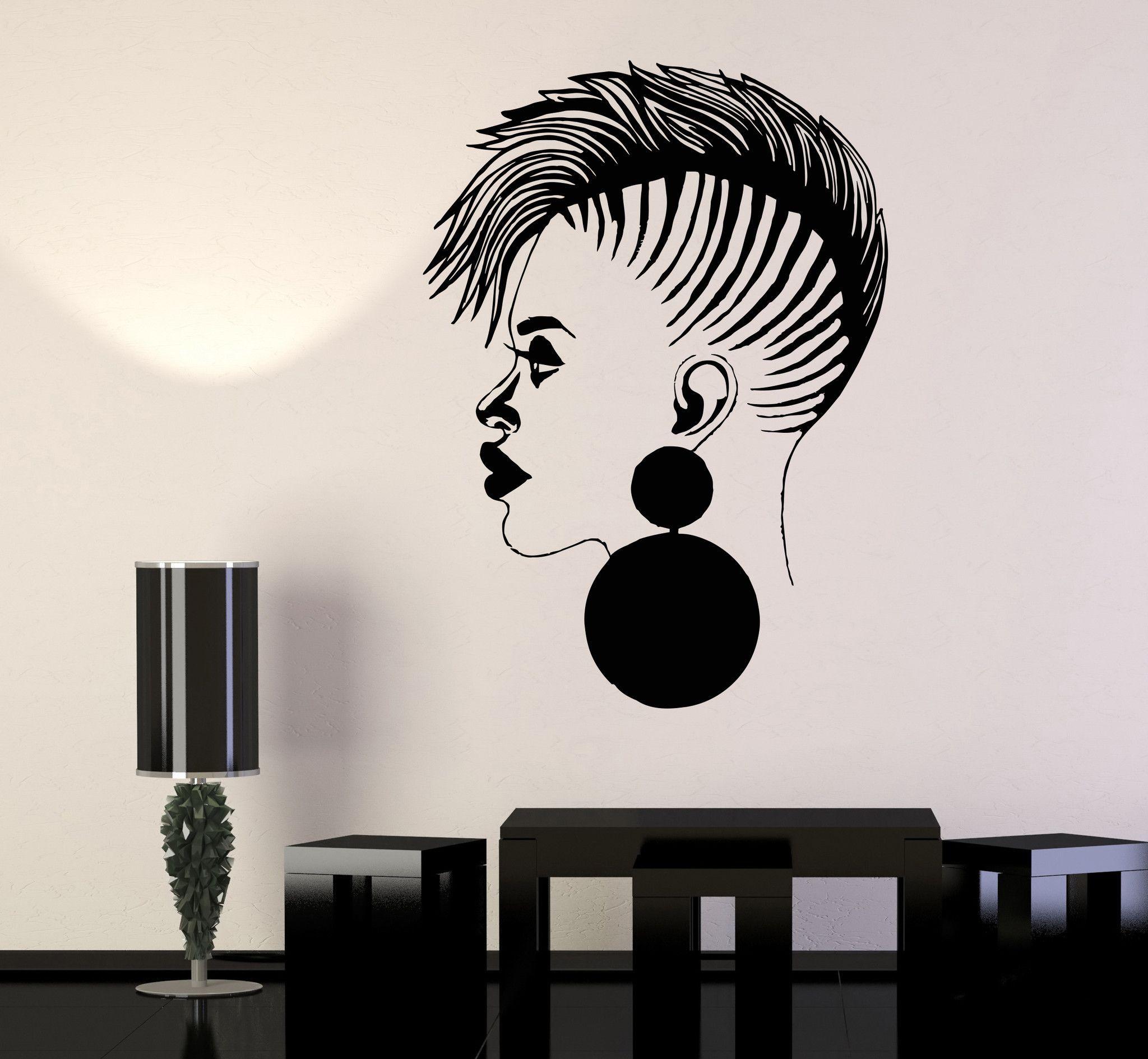 vinyl wall decal beauty salon african woman black lady stickers vinyl wall decal beauty salon african woman black lady stickers 1040ig