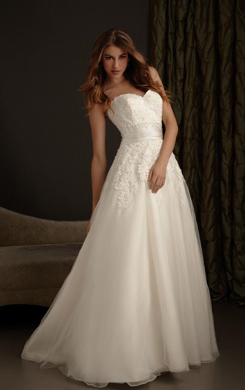 Simple elegant lace applique court train band tulle wedding dress