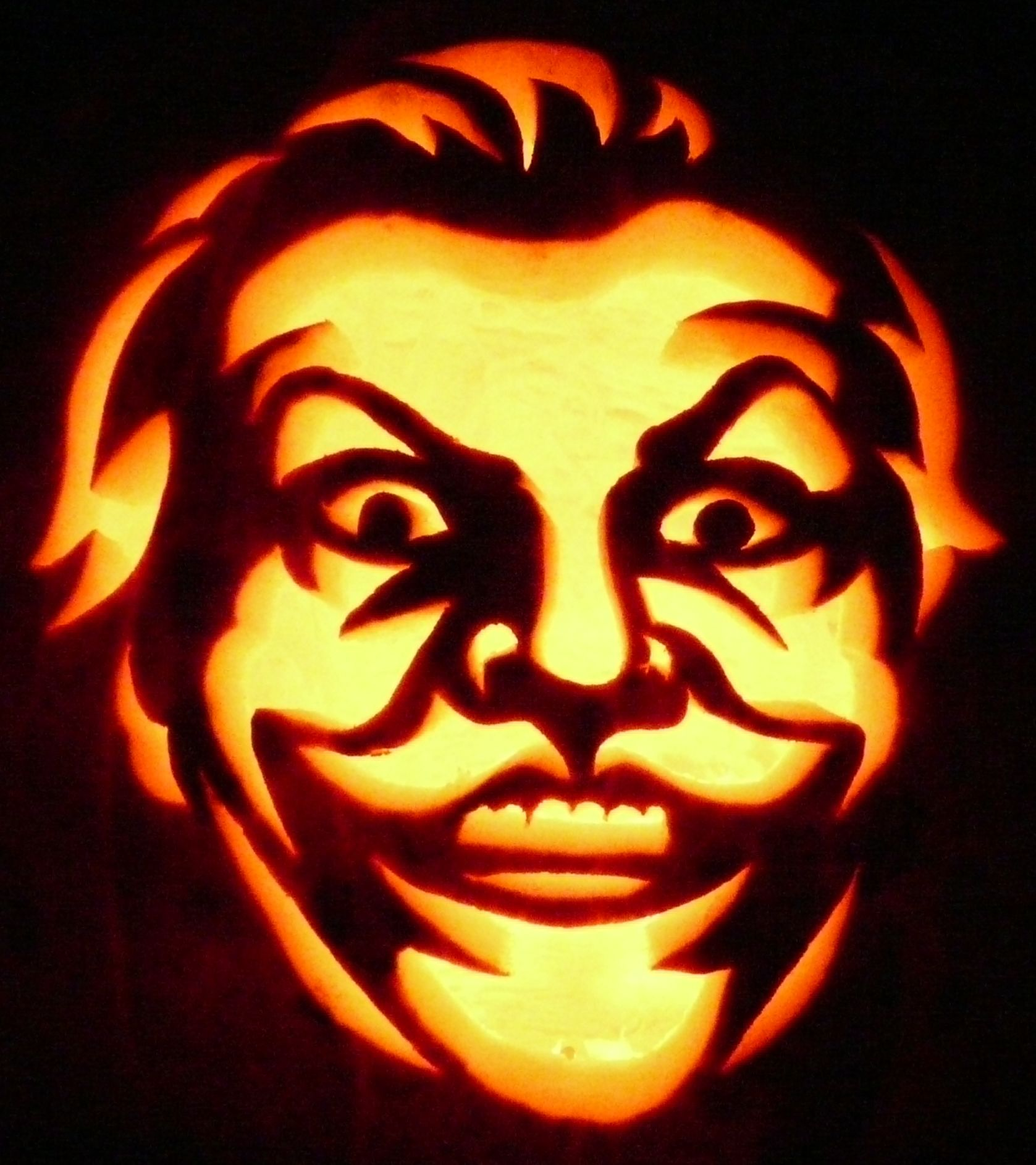 carved pumpkin jack nicholson joker pumpkin carvings at ken s rh pinterest com  jack nicholson pumpkin stencil