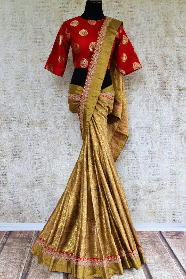 56d5026e4598dd 90E318 Gold Tissue Handloom Embroidered Sari with Red Banarasi ...