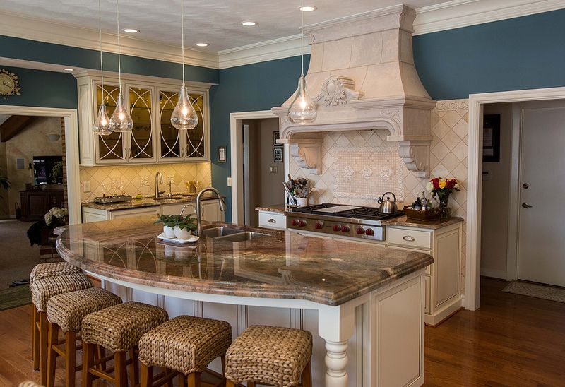 Curved Kitchen Island With Seating Interior Kitchen Picture Of Island With Double Granite Top