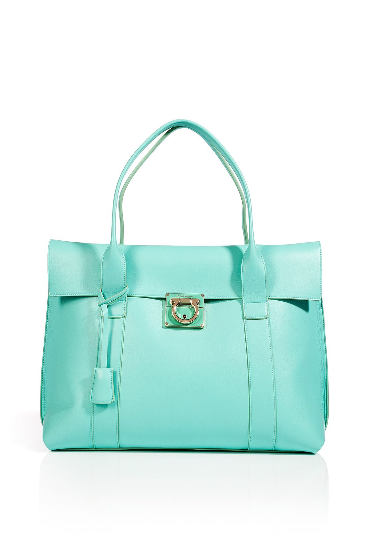 fb5ffc27c19a Turquoise Leather Sookie Tote by SALVATORE FERRAGAMO