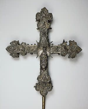 Processional cross   wood and silver; chased. H. 53 cm.  Spain. Gothic. Second half of 15th century