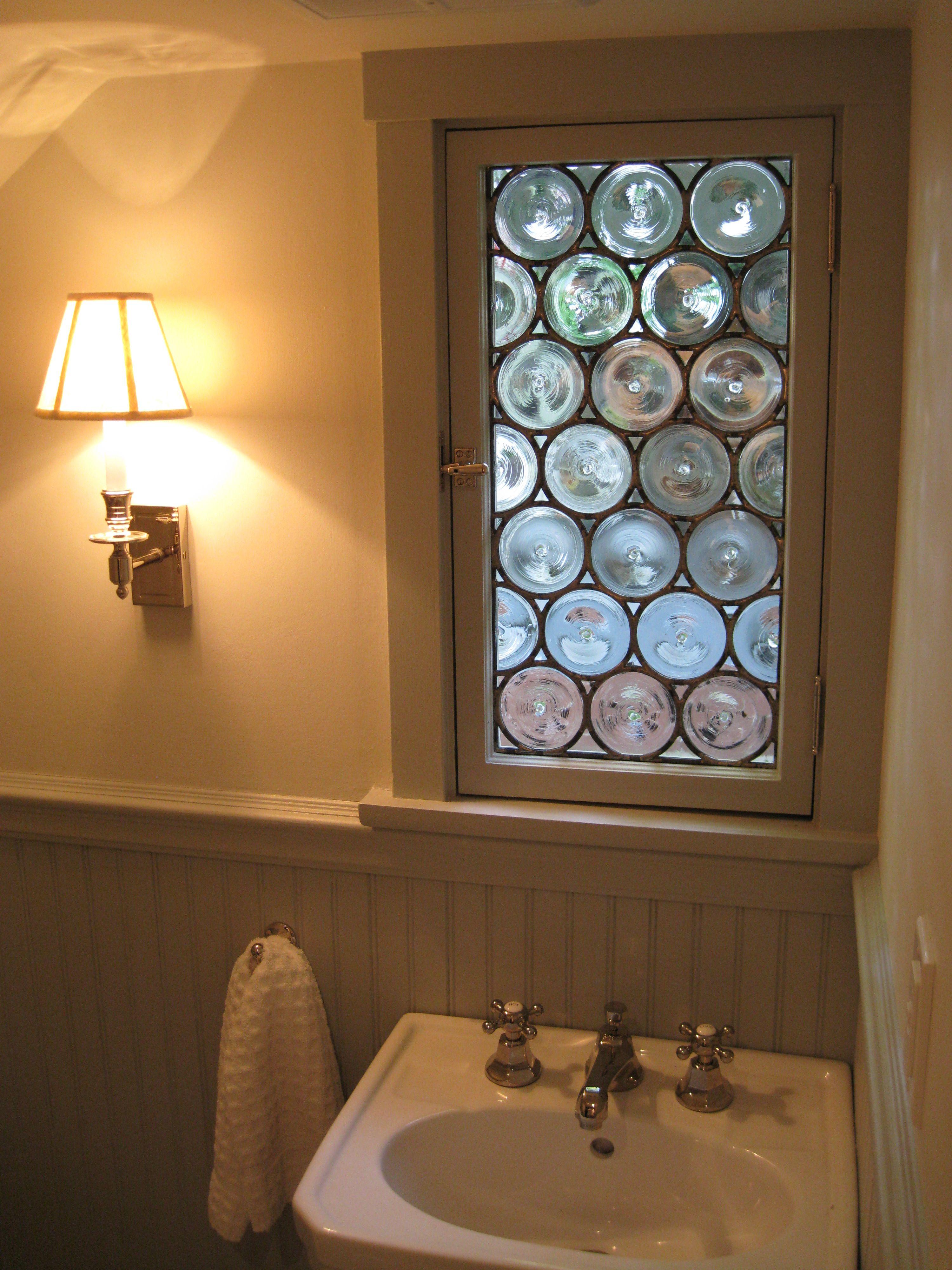 Leaded Stained Gl Handspun Rondel Bathroom Window