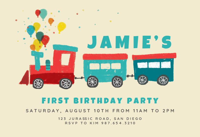 train of joy birthday invitation