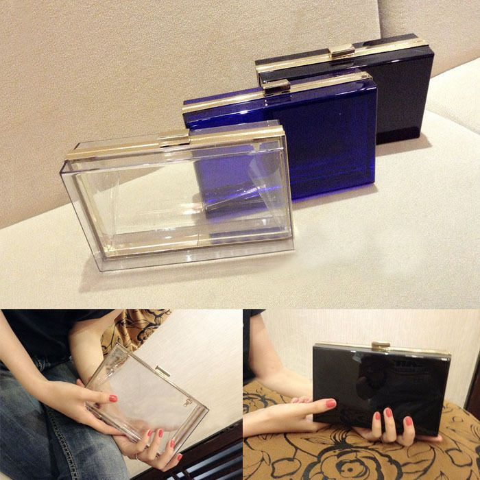 Luxury Women Transparent Acrylic Perspex Clutch Clear Purse Evening Bag Handbag #Unbranded #ShoulderBag