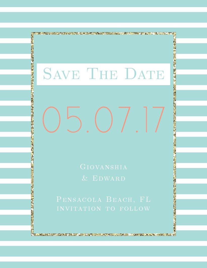 Elegant Gold Stripes Save-the-Date Card