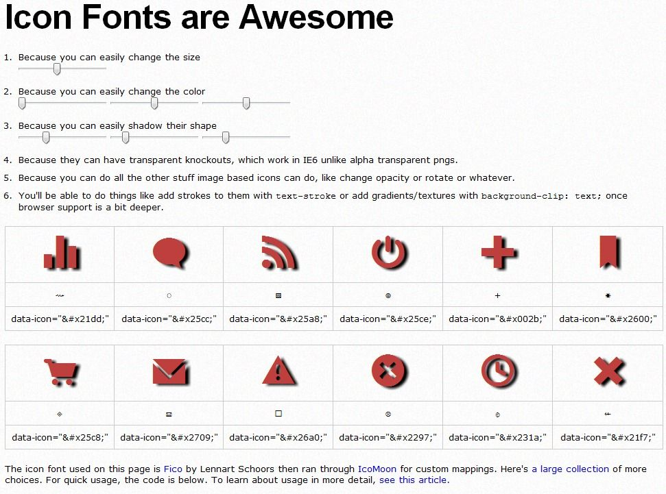 Icon Fonts are Awesome Icon font