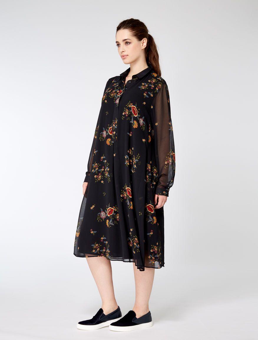 fb6fc04e98f Marina Rinaldi DARIA black: Printed georgette shirt dress. | Brand ...