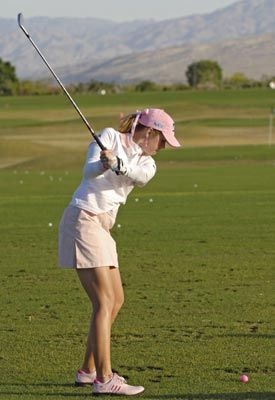 Love the pink golf shoes!