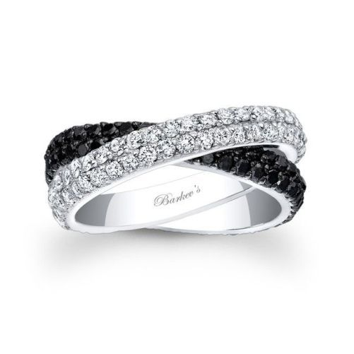 Crossed Wedding Bands.Unique Crossed Wedding Rings With White And Black Diamonds Wedding