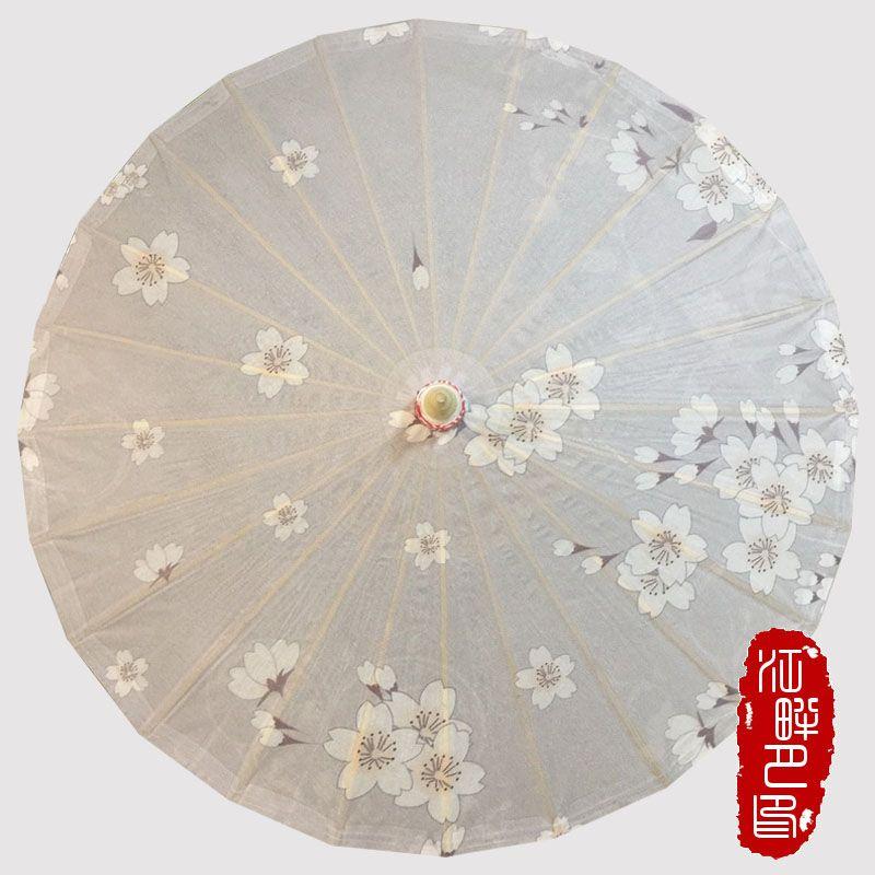 Chinese handmade grey background white sakura flowers