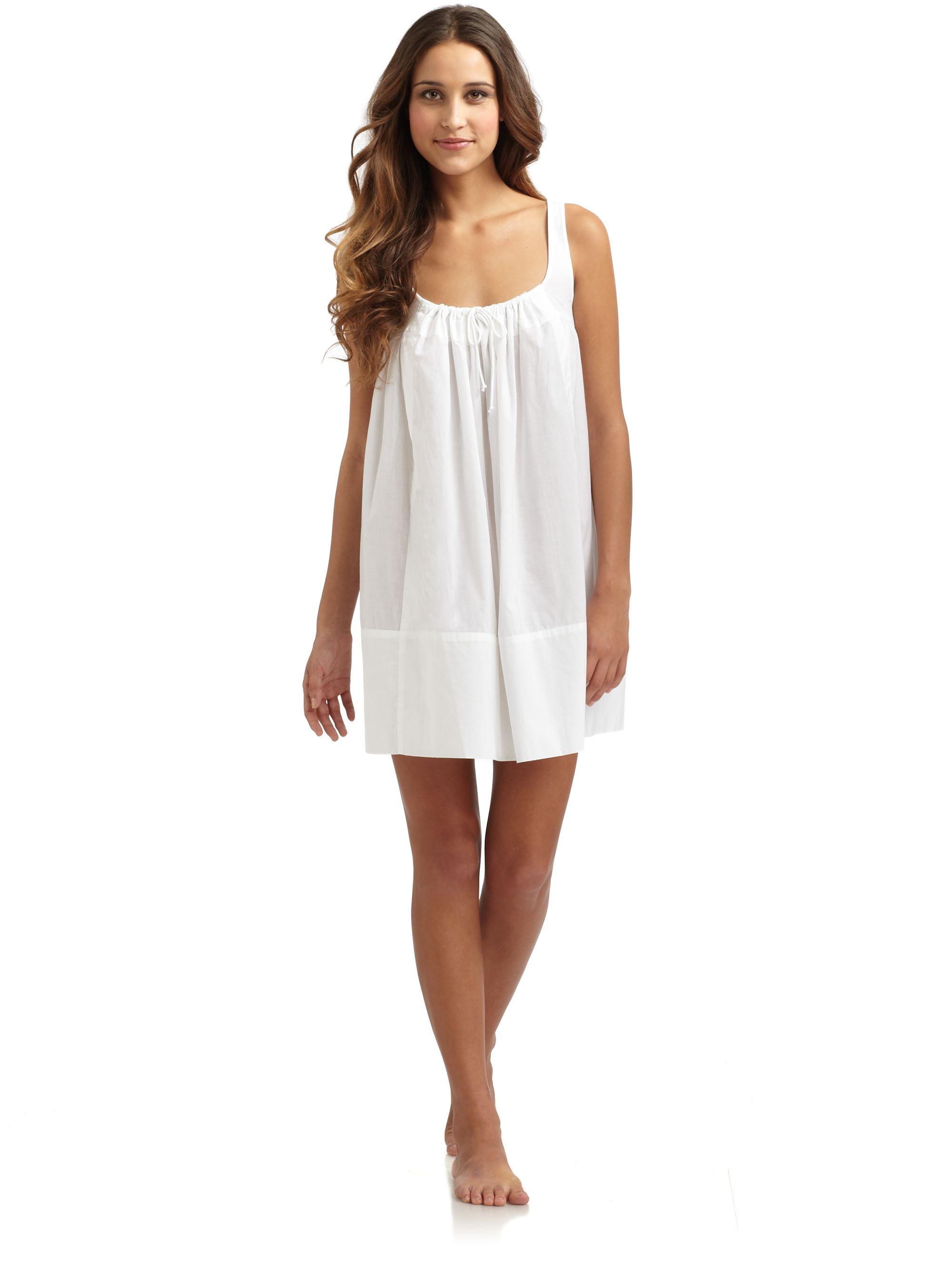 fc8013204267 Donna karan new york Cotton Batiste Short Sleeveless Nightgown in White |  Lyst