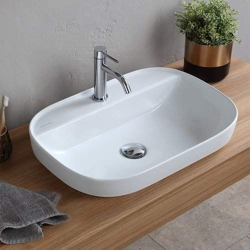 Scarabeo By Nameeks Oval Ceramic Drop In Bathroom Sink With