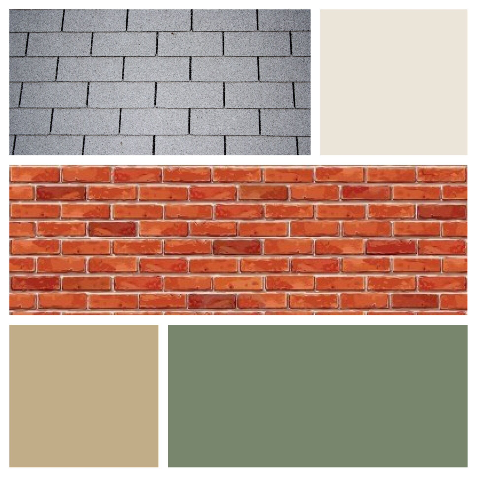 Exterior color scheme for red brick and gray roof - moss ...