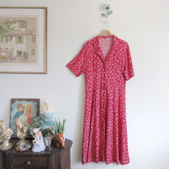 Vtg 90s Primary Red Folk Floral Mermaid Midi Maxi by ShoutVintage