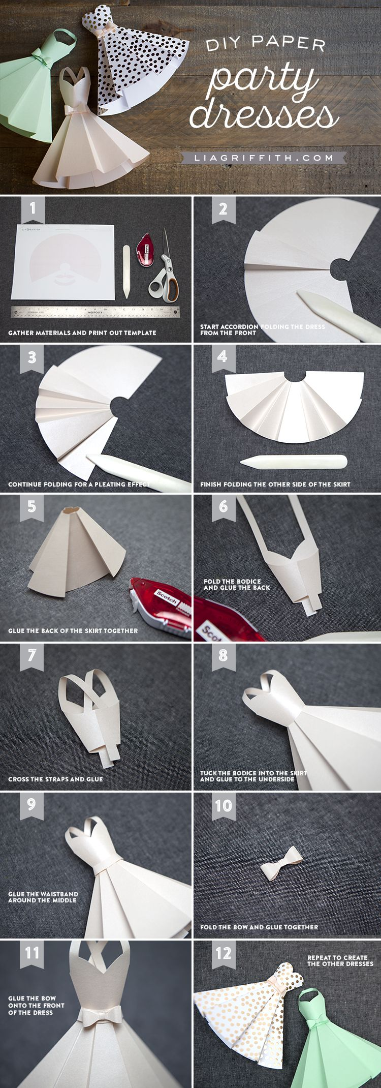 Paper dress diy wedding decorations diy pinterest faa voc tutorial paper party or wedding dress invitations from michaelsmakers lia griffith junglespirit Gallery
