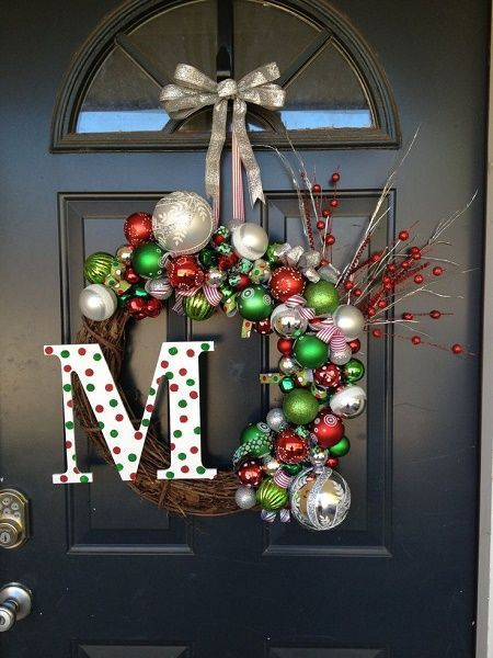 Ornaments Christmas Wreath for Doors Aside from the ornaments, a big capital of your family name can be a great modification too.
