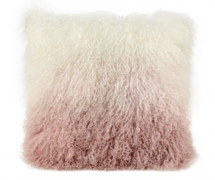 Ombre Tibetan sheepskin Pillow Blush ~ Eclectic Goods