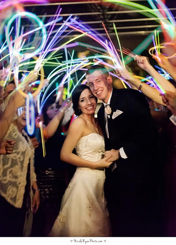Aside From The Fabulous Photos Ops Your Wedding Exit Is The Grand Finale To One Of The Most Spectacular Days Of Wedding Photos Glow Stick Wedding Neon Wedding