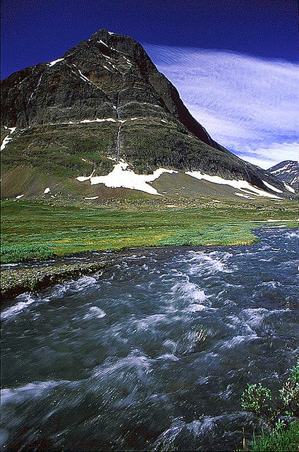 Kungsleden Trail, Sweden, Lappland (they often market themselves as the mountain trail where you don't need to bring anything to drink as there are brooks with drinkable glacier water along the whole trail