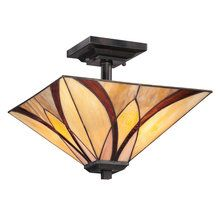 View the Quoizel TFAS1714 Asheville 2 Light Semi-Flush Ceiling Fixture with Tiffany Glass at LightingDirect.com.