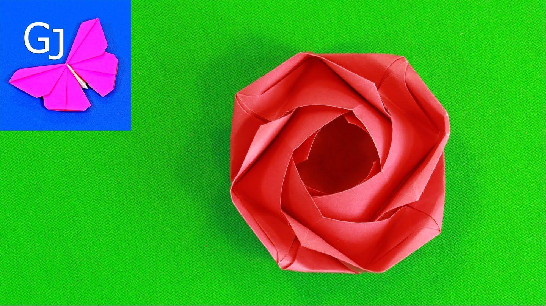 Оригами роза   origami vídeos: Flora - photo#26