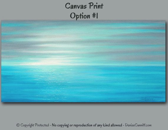 Coastal Wall Art Ocean Sunrise Canvas Teal Gray Blue Aqua